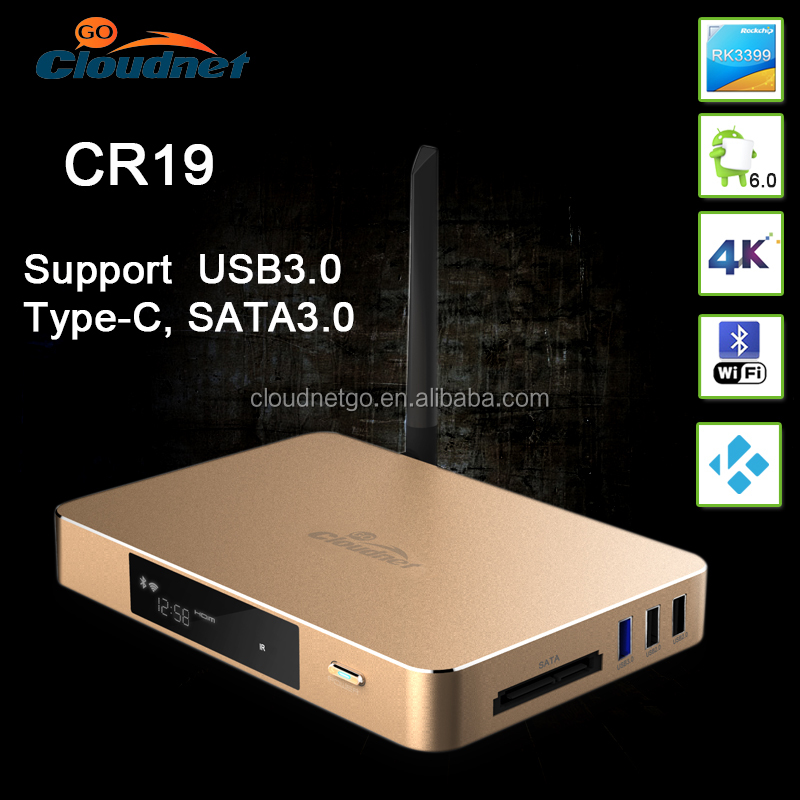 Cloudnergo Best RK3399 Rockchip 64 bit 4GB 32GB Type C Sata Port 4K2K 60FPS 10 bit Android 6.0 TV BOX for XBOX, PS4 Free Game