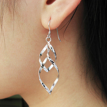 Classic Double Linear Loops Design Jewelry Ladies Women Silver Earrings Designs Pictures