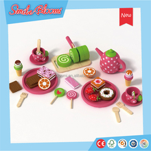 Children Happy Play Wooden Cake Green Tea Set Toy cooking games for girls