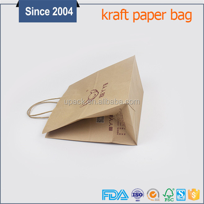 Medium size matt brown present paper packing bag with handle