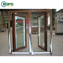 Design wood colored internal inside swing windows with integral blind