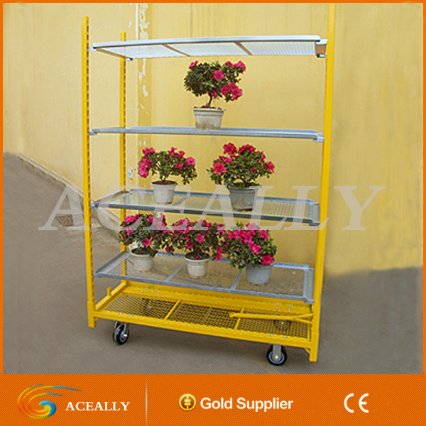 ACEALLY Metal Plate Plant Nursery Cart for Transporting Flower Pots