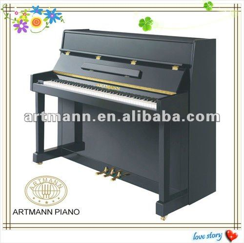 Artmann alto brilho tamanho pequeno piano vertical up110 for Small upright piano dimensions