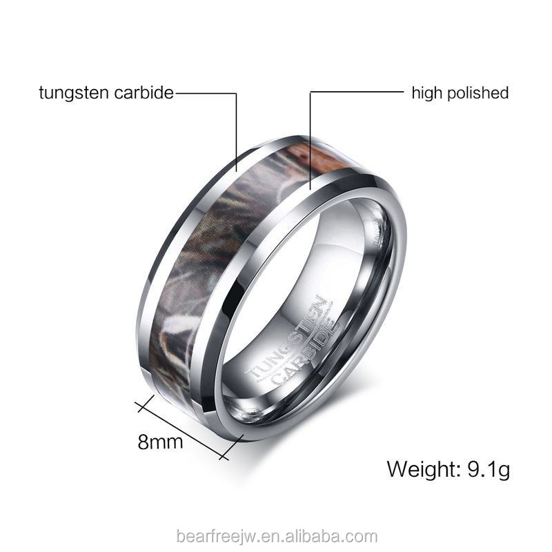 8mm Camo Trees Leaves Tungsten Carbide Ring Camouflage Hunting Polished Finish Comfort Fit