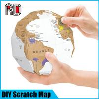 2017 Custom Popular Fun trip 3D Globe World Map Scratch off, Traveling Memory DIY Gift Scratch off map