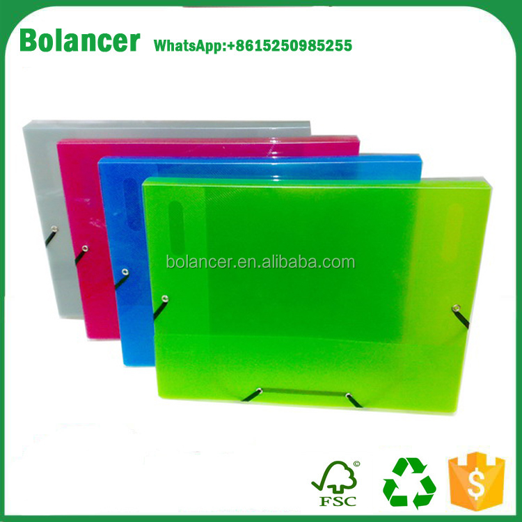 Promotion Cheap price a4 a5 plastic box file with Elastic Strap