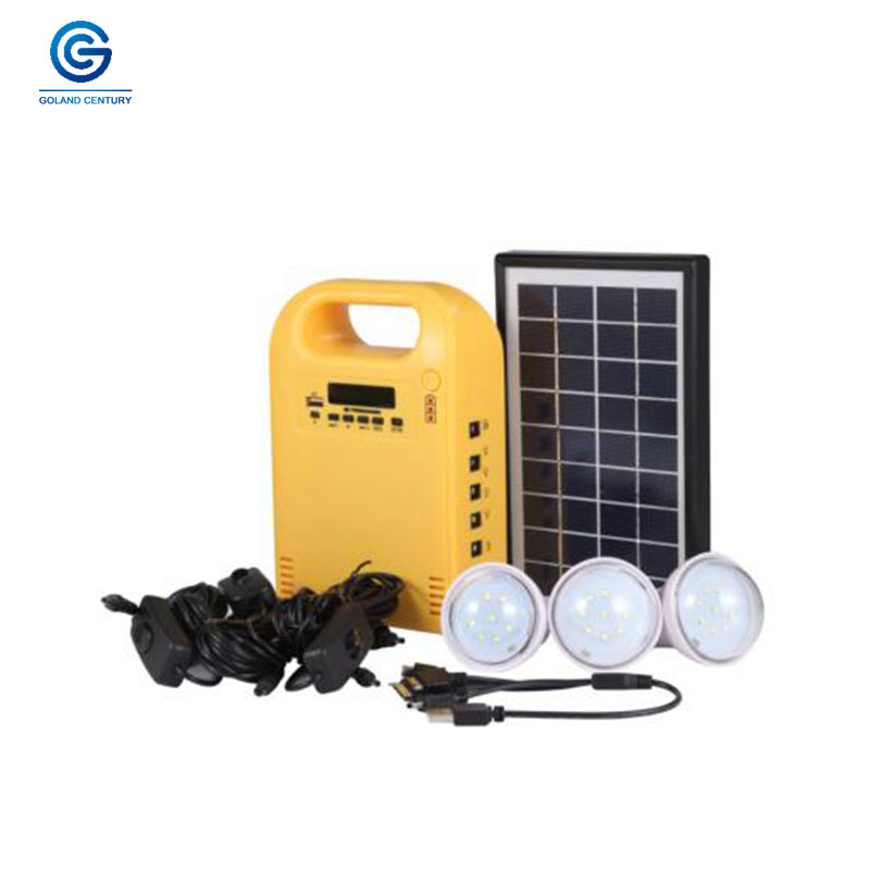 Portable 3W 9V home emergency light system with solar panel LED light and FM radio