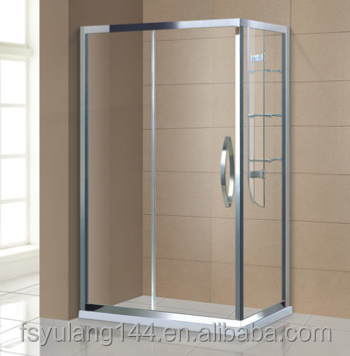 AD-313 Bathroom 1 person stainless steel frame rectangular shower door with glass shelf