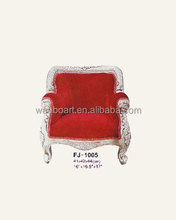 1005 handmade silver color antique finished hand carved wooden doll sofa French luxury sofa / chair with classical fabric