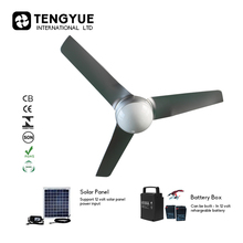 Cheap price 42 inch Solar ceiling fans with lights metal blade electric fan Home appliances 12V DC decorative ceiling fans