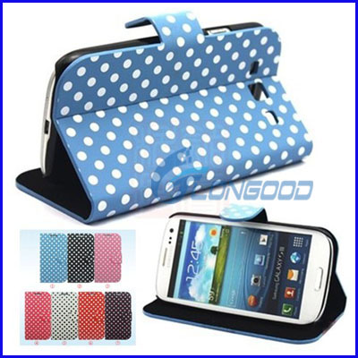 New Polka Dots Stand Leather Case Cover For Samsung Galaxy S3 SIII i9300