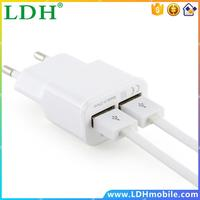 5V 2A EU 2 USB White Adapter Mobile Phone Wall Charger Device Micro Data Charging For iPhone 4 5 6 iPad Samsung LG Wholesale