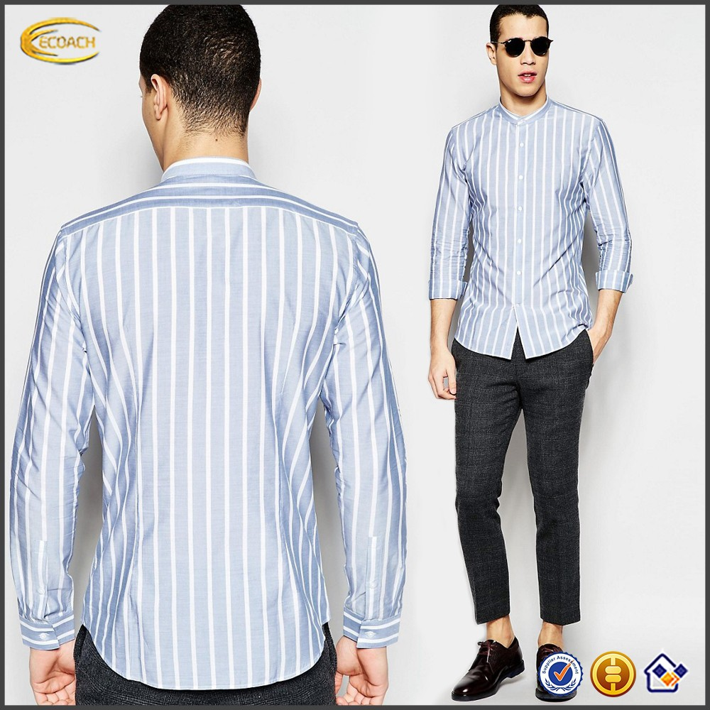 Ecoach Wholesale OEM High Quality Men Long Sleeve Button Placket Regular Fit Cotton Stripe Shirts Latest Style Dress shirts