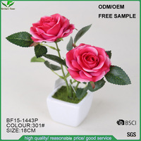Cheap wholesale silk mini pink artificial rose flowers for wedding decoration