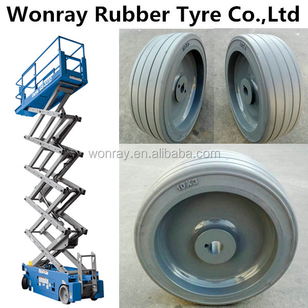 10x3 10x4 Non-Marking Tyre SCISSOR LIFT WHEEL & TIRE ASSEMBLY PART for Genie GR-12, GR-15, GR-20