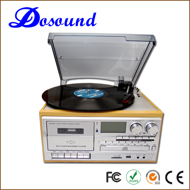 Best Selling retro vinyl Portable cd record cassette radio turntable player 6 in 1 with cassette encoding