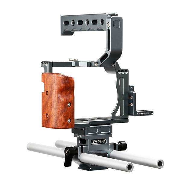 SK-A7C1 Professional DSLR wooden Camera Cage Kit with 15mm Standard Rods for A7 A7S A7R A7 II A7R II Cameras Video Shooting