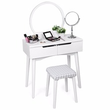Table Set with Mirror 2 Large Sliding Drawers Makeup Dressing Table with Cushioned Stool