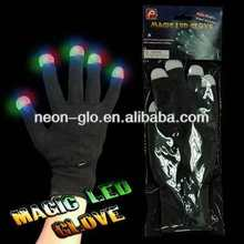 "1-Pc Packed Magic LED Glove (Black Gloves with white tip and light), ""Polybag + header card"" Packing"