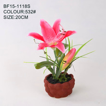 Pop Home decor artificial pink lily flower with ceramic pot