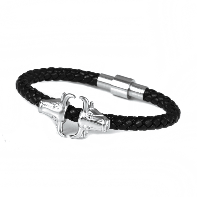 Wholesale Fashion Silver Skull Magnetic Bracelet Lock In Stainless Steel Jewelry