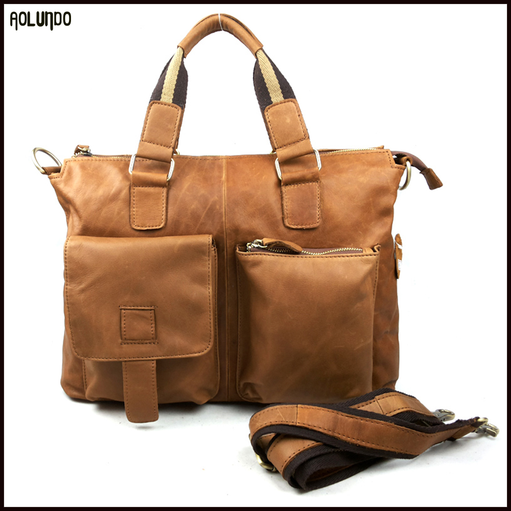 Western fashion mens laptop casual geniune leather hand bag