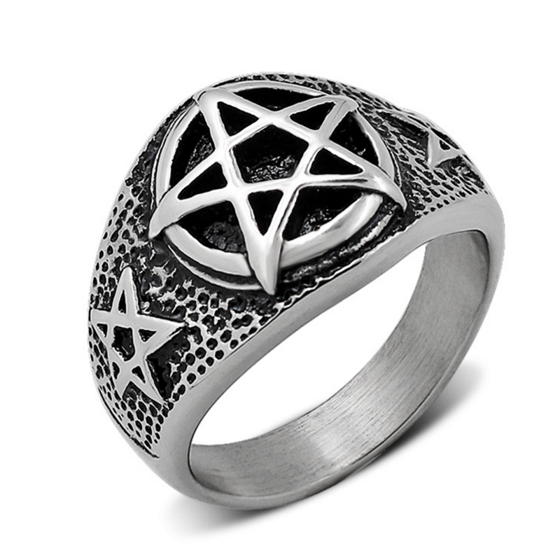 Punk titanium steel ring, men pentagram ring, rock and roll style accessories wholesale ring YSS713