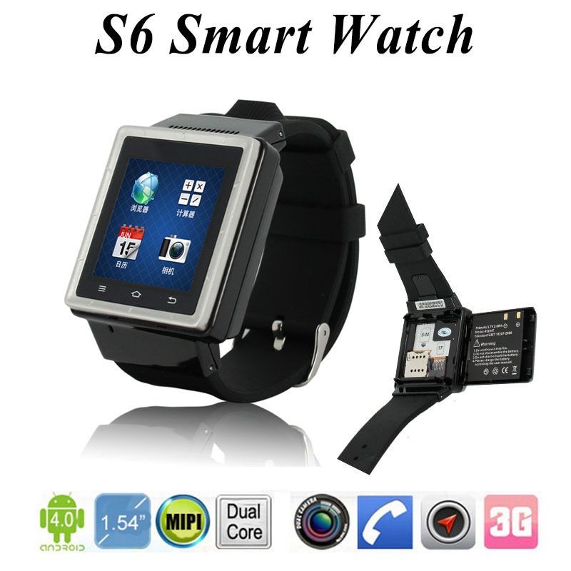 Large Screen 3G Android Watch Smart Phone S6 With Micro SIM Card , S6 Android Smart Watch