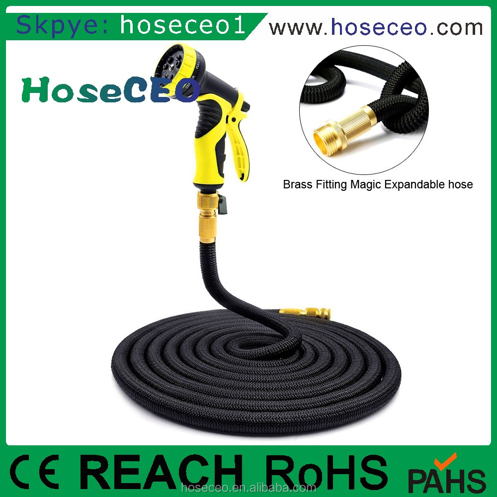 Factory Wholesale 100 FT black Hoseceo Flexible Expandable Garden Hose With Brass Fittings Spray Nozzle 8 Function Gun