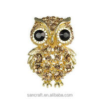 Vintage wholesale two clolors Austrian crystal for dress brooch wholesale owl brooch