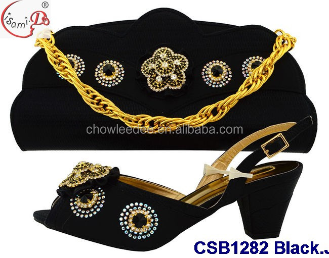 CSB1282 Fancy black female italian shoes and bag set fashion wedding shoes and matching bag