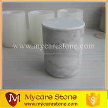 Mycare high quality Carrara white marble candle jar with lids , custom Logo design marble lids