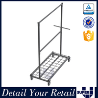 movable iron chrome hanging rails,display stands exibition for T-shirt