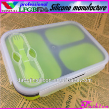 wholesale 3 compartments collapsible silicone lunch box