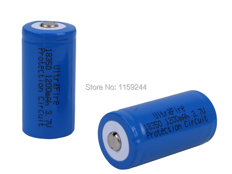 Free shipping UltraFire 18350 high capacity 1200mAh 3.7V Protected Rechargeable Battery 5 pairs-pack