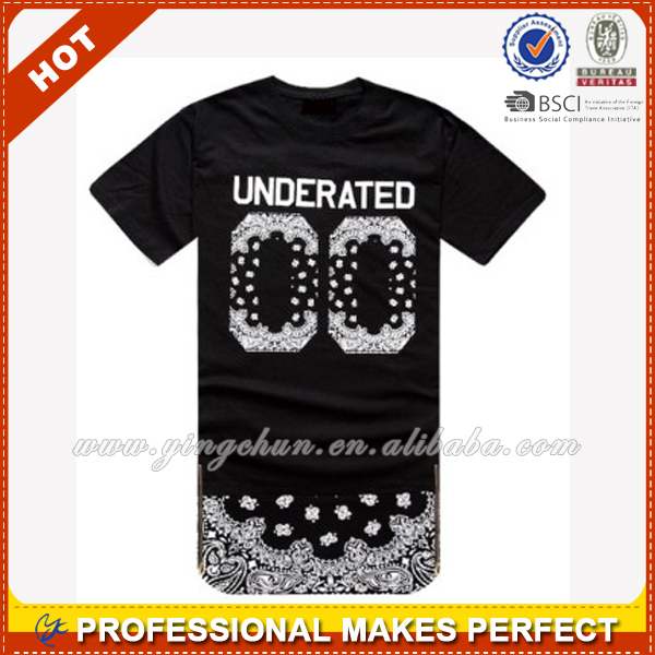 custom Hip Hop Clothing elongated t shirt for Men