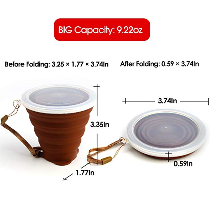 Custom Portable Eco Friendly Folding Collapsible Travel Drinking Foldable Silicone Reusable Coffee Cup