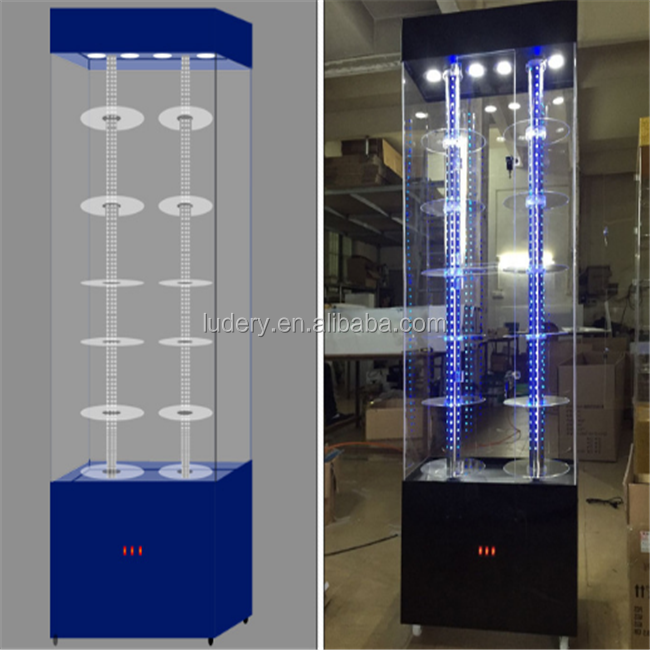 Customized <strong>acrylic</strong> and LED lights watch display cabinet with lock and key