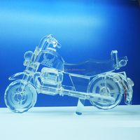 Fashion clear crystal motorcycle Mobel Award Crystal Vehicle Model