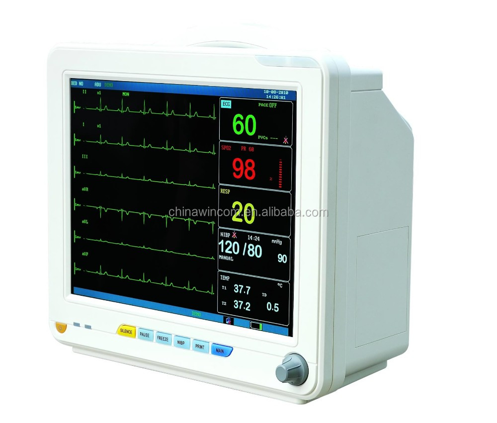 Factory Sale Hospital use ECG/NIBP/SpO2/RESP/2-TEMP/PR/HR Patient Monitor