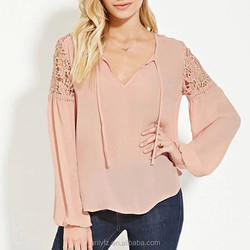 2016 Anly new arrival office ladies floral crochet long sleeve chiffon silk blouse