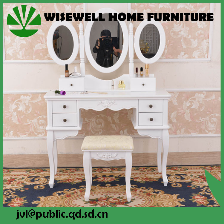 european wooden dressing table with 3 folded mirrors W-HY-078