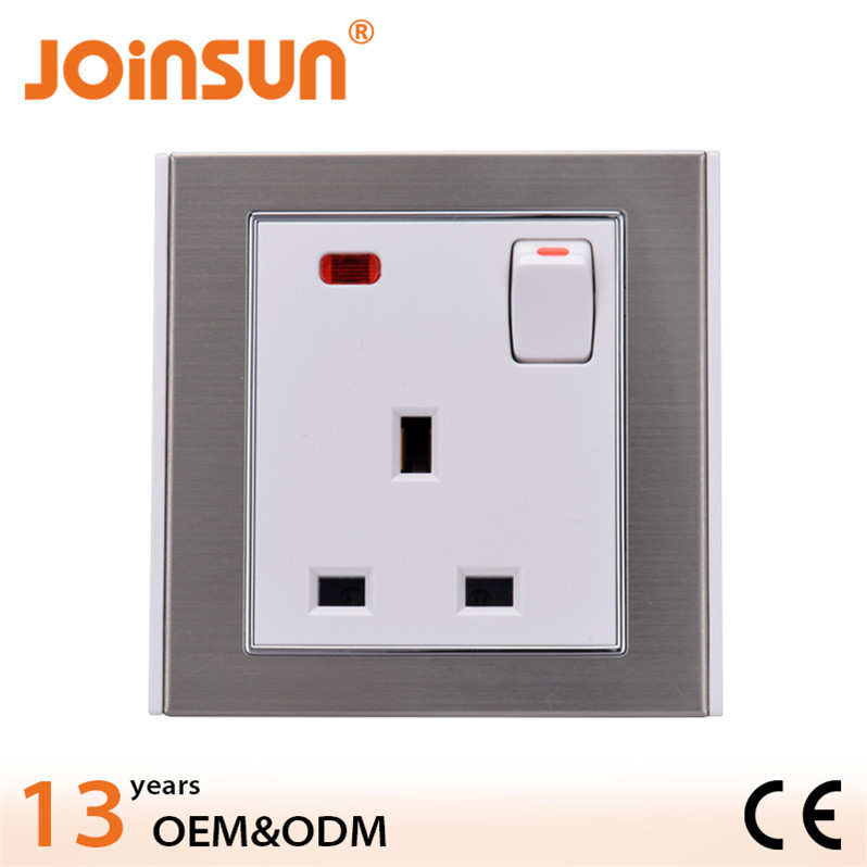 Stainless steel 86*86mm UK socket with switch and neon european wall sockets