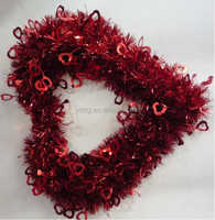 Hot sell Promotional Heart Shape PET Tinsel Wreath