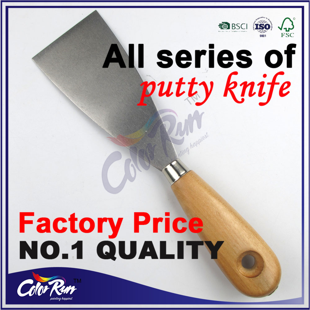 ColorRun PT08107 Wooden Handle Plastering Putty Knife Paint Stainless Steel Scraper