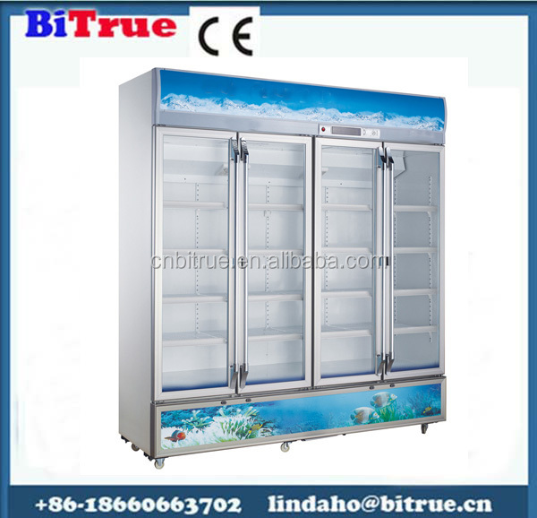 Hot sales supermarket commercial glass door refrigerators