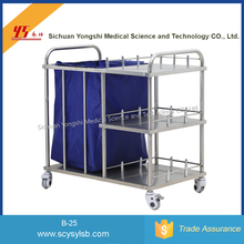Durable Stainless steel linen restaurant cleaning cart with canvas