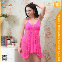 HSZ-8038# Hot sale sexy asian sleepwear transparent sleepwear for women fashion show sexy babydoll sleepwear nighty