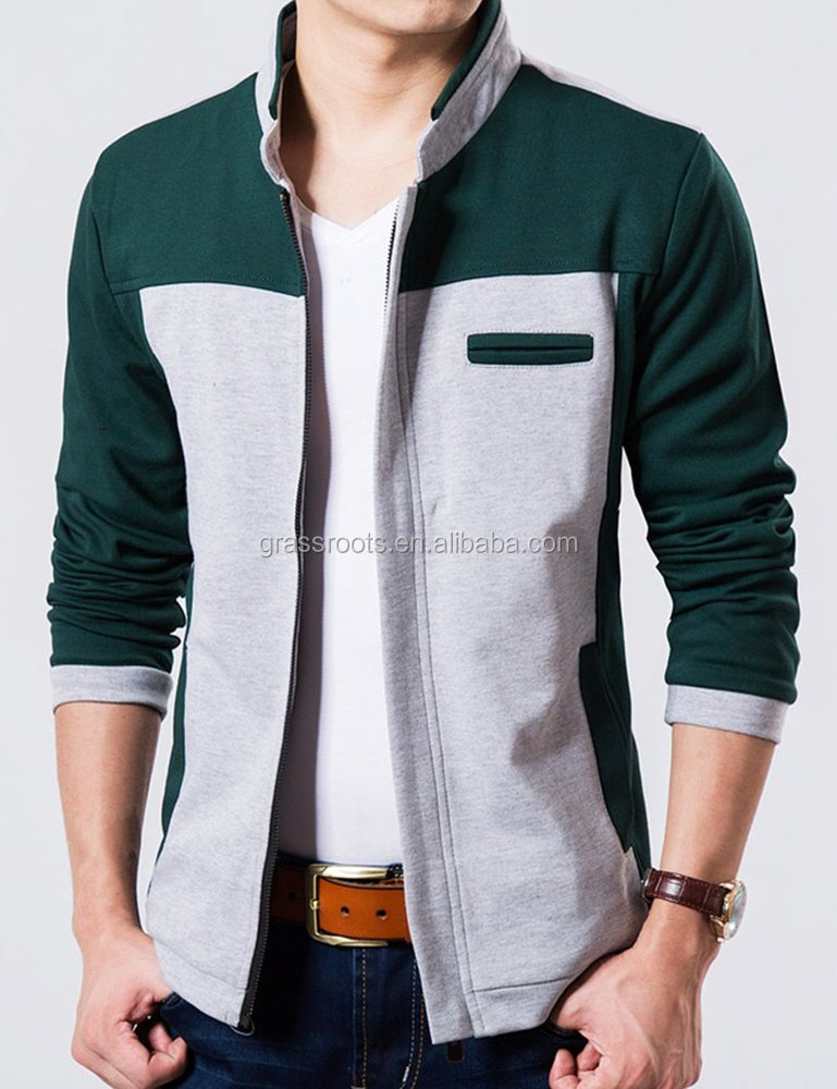 2016 popular men's snap crin french terry knitted jacket