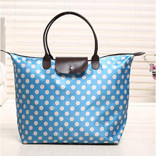 Blue with white dots printed on oxford non woven shopping bag